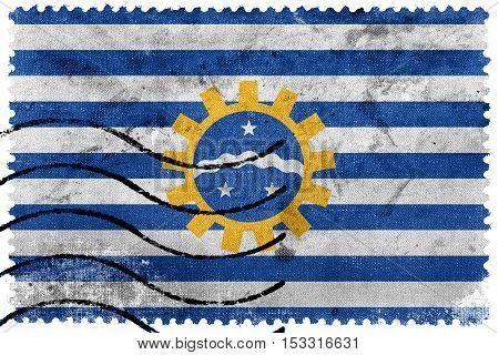 Flag Of Sao Jose Dos Campos, Sao Paulo, Brazil, Old Postage Stamp
