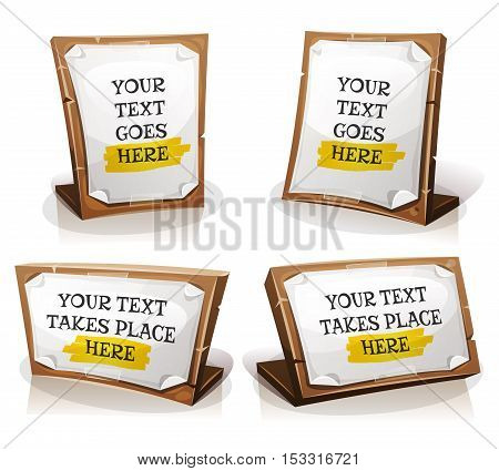 Illustration of a cartoon set of white paper signs on wooden tablet with adhesive tapes and place for message