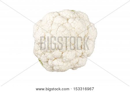 Cauliflower isolated on white background top view close up