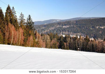 Winter landscape in the National park Sumava - Czech Republic