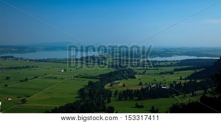 Panorama of Forggensee and Bannwaldsee Schwangau Bayern Germany