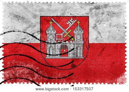 Flag Of Tartu, Estonia, Old Postage Stamp
