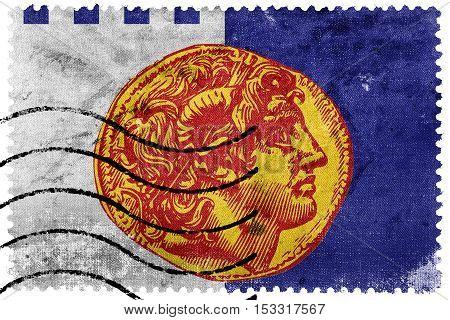 Flag Of Thessaloniki, Greece, Old Postage Stamp