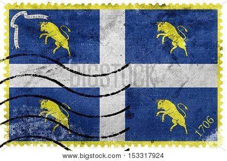Flag Of Turin, Italy, Old Postage Stamp