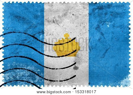 Flag Of Ulyanovsk, Russia, Old Postage Stamp