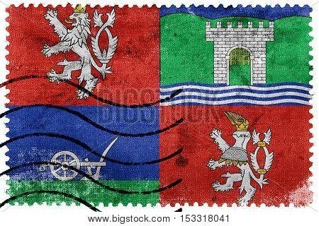 Flag Of Usti Nad Labem Region, Czechia, Old Postage Stamp