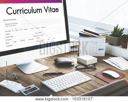 Curriculum Vitae Biography Form Concept