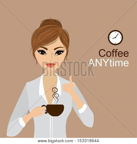 Pretty girl holding a cup of coffeecartoon stock vector illustration
