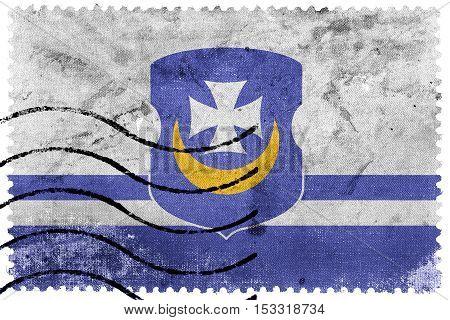 Flag Of Vorsza, Belarus, Old Postage Stamp
