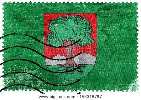 Flag Of Walbrzych, Poland, Old Postage Stamp
