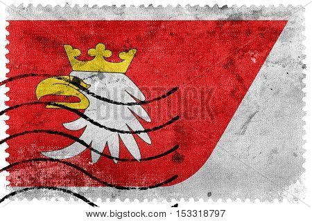 Flag Of Warmian-masurian Voivodeship, Poland, Old Postage Stamp