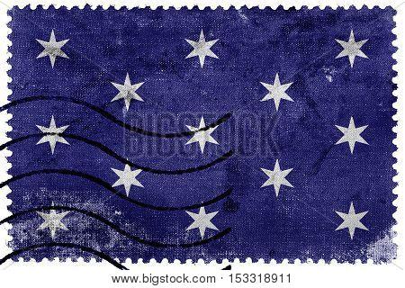 Flag Of Washington, New York State, Usa, Old Postage Stamp