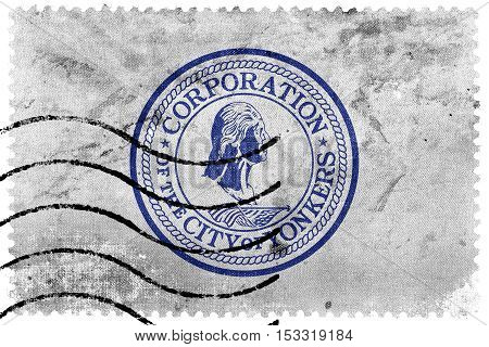 Flag Of Yonkers, New York, Usa, Old Postage Stamp
