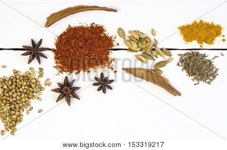 Close up overhead photo of spices on a white wood deck table