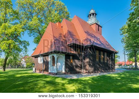 Norwegian wooden church in Krzesiny - Poznan; one of two Norwegian stave wooden churches (stavkirke) in Poland - founded in 1912