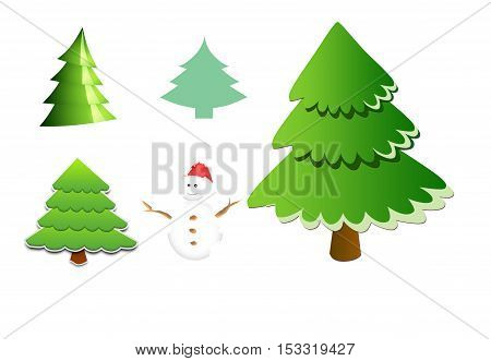 Christmas trees and snowman, digitally created by computer software