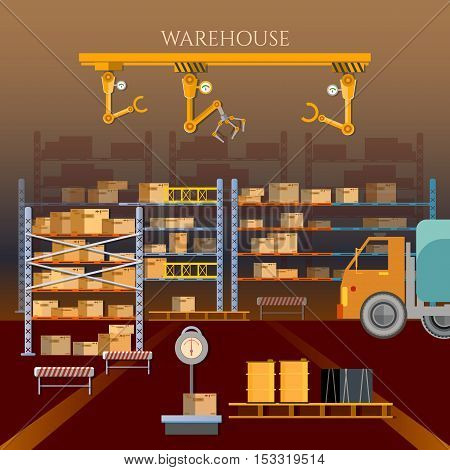 Warehouse building and shipping process vector illustration