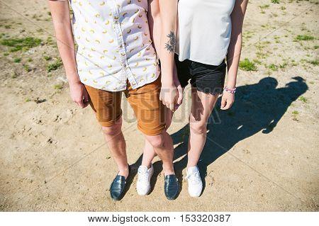 Loving Couple Men Fnd Women Holding Hands In Park