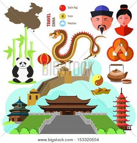 Set of China and East culture symbols. Collection icons: dragon and Great wall, Chinese temple, building and pagoda, tea and food, coin, lantern, bamboo and panda. Asia vector illustrations.
