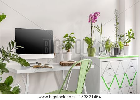 Home Office With Commode And Flowers