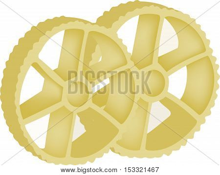 Yellow durum wheat pasta wheel-shaped pasta type and shape of a wheel