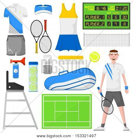 Set of cartoon tennis icons. Sports equipment and wear ball and racket, field, court and player, bag and clothes shirt and skirt. Vector isolated illustration in flat. Activity and recreation concept.