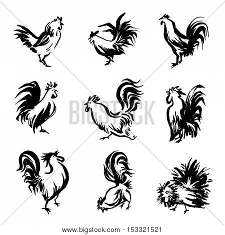 Icon set - silhouettes of black rooster. Vector cock. Bird illustration - cockerel. collection of chinese zodiac symbols for 2017 year. Design elemens for calendar, logo and label. Isolated on white.