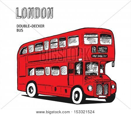 London double-decker hand-drawn red bus