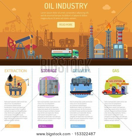 Oil industry Infographics with Flat Icons extraction refinery and transportation oil and petrol with oil pump, factory and tanker truck. vector illustration.