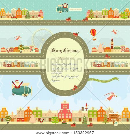 Christmas characters on City Map. Cute Santa Claus Snowman and Christmas Tree on Infographic Card. Vector Illustration.