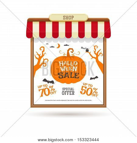 Halloween sale decoration shop window. Vector illustration