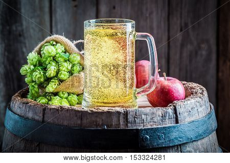 Fresh Cider Beer With Apples, Hops And Wheat