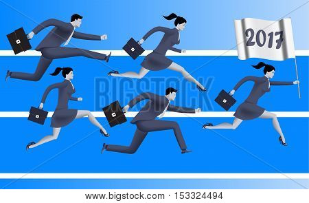 Running to year 2017 business concept. Confident business people run with flag with number 2017. Concept of team new horizon new opportunities and challenges. Vector illustration.