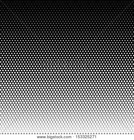 Seamless halftone effect pattern. Abstract dotted background. Halftone effect vector illustration. White dots on black background. Halftone effect pattern.