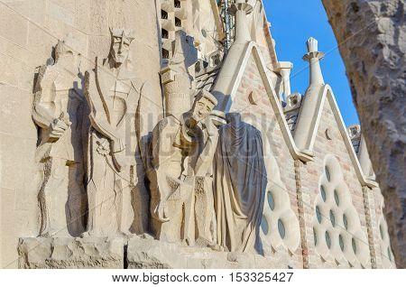 Details Of Facade Of Sagrada Familia, Barcelona, Spain