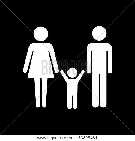 Family couple with baby boy vector icon white on black