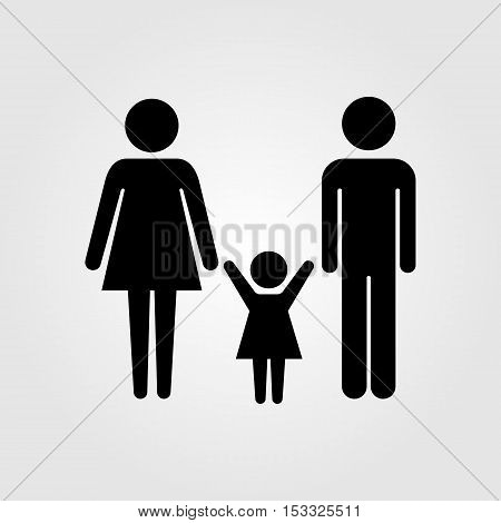 Family couple with baby girl vector icon
