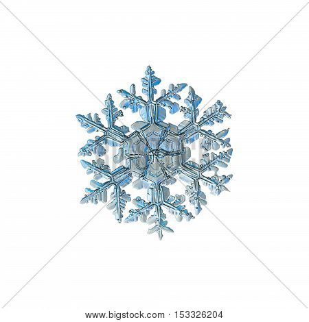 Snowflake isolated on white background: macro photo of real snow crystal, captured on glass with LED back light. This is big snowflake of stellar dendrite type with ornate arms and massive center.
