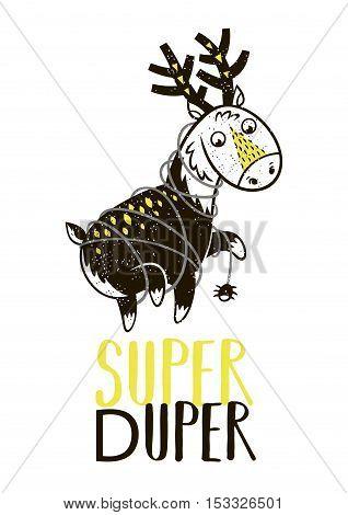 Super Duper. Little deer in superheroes costume. Hand drawn animal print. Super Hero greeting card