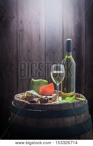 White Wine And Mix Of Cheese For Snacks With Copy Space