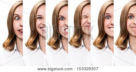 Half face collage of the same woman expressing different emotions isolated on white