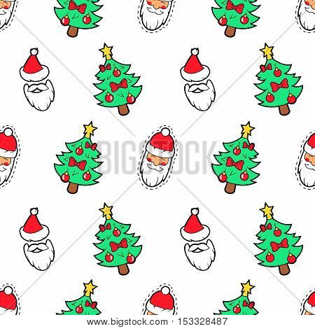 Merry Christmas and Happy New Year Seamless Pattern with Christmas Tree and Santa Claus. Winter Holidays Wrapping Paper. Vector background