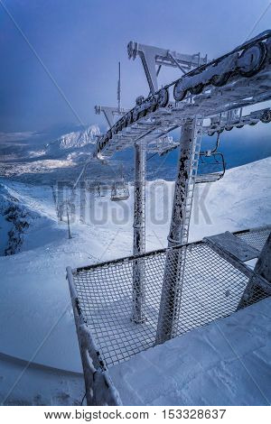 Frozen Cableway In The Tatra Mountains, Poland