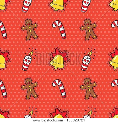 Merry Christmas and Happy New Year Seamless Pattern with Christmas Cookie Candies and Candles. Winter Holidays Wrapping Paper. Vector background