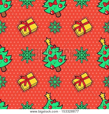 Merry Christmas and Happy New Year Seamless Pattern with Christmas Tree Gifts and Snowflakes. Winter Holidays Wrapping Paper. Vector background