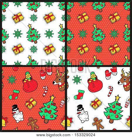 Merry Christmas and Happy New Year Seamless Pattern Set with Christmas Tree Gifts and Reindeer. Winter Holidays Wrapping Paper. Vector background