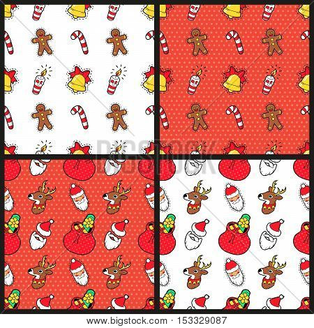 Merry Christmas and Happy New Year Seamless Pattern Set with Christmas Cookie Candies and Santa. Winter Holidays Wrapping Paper. Vector background