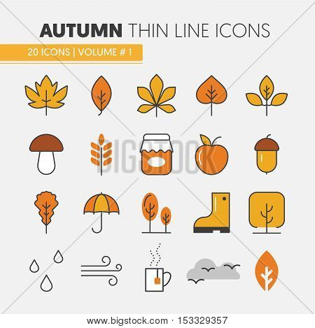 Autumn Thin Line Vector Icons with Umbrella Rainy Weather and Nature Gifts