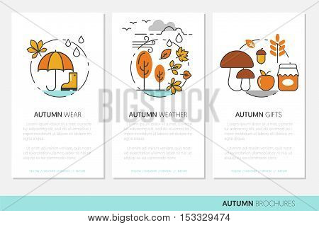 Thin Line Autumn Business Brochures with Fall Wear Rainy Weather and Nature Gifts. Vector illustration