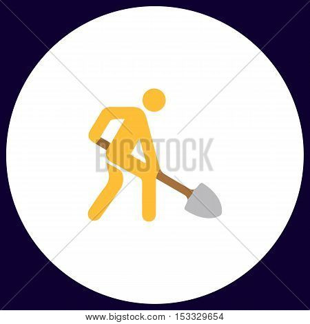 Digging man Simple vector button. Illustration symbol. Color flat icon